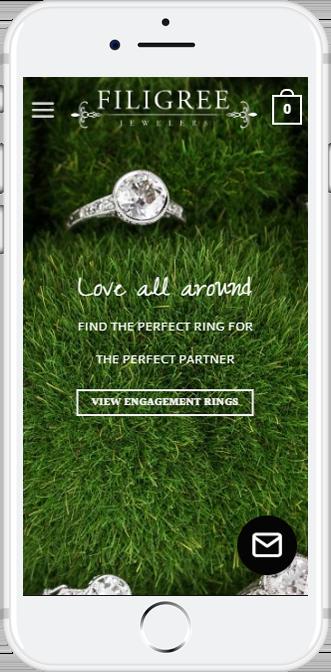 Filigree Jewelers Mobile Responsive WordPress Development by Queen Bee Media